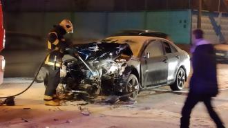 Из-за пьяного водителя загорелся автомобиль на пересечении улиц Красина и Коммуны