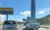 """У """"Лахта Центра"""" подбили мотоциклиста: водители встали в пробке"""