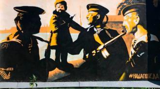 В Кронштадте закрасили патриотическое граффити
