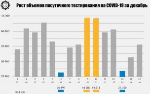 Инфографика: Как менялись объемы тестирования на COVID-19 в декабре