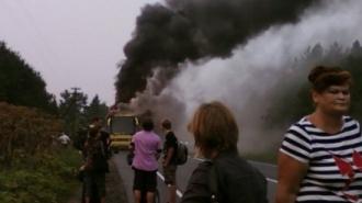 ЧП: Автобус Петербург - Хельсинки сгорел дотла на автодороге в Финляндии