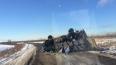 У поселка Невская Дубровка жестко перевернулся грузовик