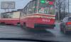 При выезде из парка на Стачек трамвай №52 сошел с рельсов
