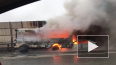 На КАД сгорели столкнувшиеся иномарка и автобус