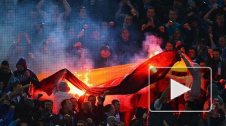 Фанаты Зенита сожгли флаг Германии на матче с Боруссией