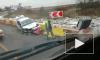 Появилось видео с места ДТП в Петербурге, где машина ДПС протаранила пластиковое ограждение