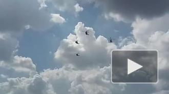 Репетиция парада ко Дню ВМФ: над Петербургом пролетели вертолеты