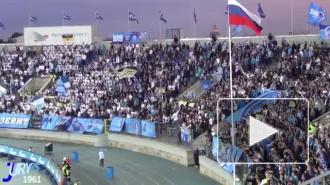 Фанаты Зенита на Петровском подожгли чеченский флаг