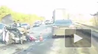 Появилось видео с места ДТП в Липецкой области, где погибли 3 сотрудника ФСИН