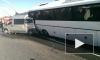 """Туристический автобус смял """"Пежо"""" на Кубинской улице"""