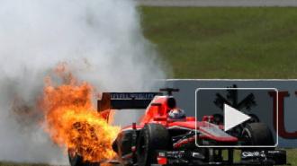 Болид Формулы-1 загорелся на автошоу в Челябинске